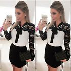 Womens Long Sleeve Sexy Lace Evening Party Bodycon Mini Skater Dress BF9