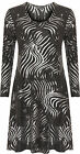 Womens Plus Swing Flared Party Dress Ladies Gillter Print Long Sleeve New 14-28