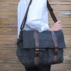 Retro CANVAS LEATHER MESSENGER SHOULDER Bag Laptop School University S8168