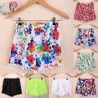 Fashion Women Summer Casual Print Floral Elastic High Waist Tassel Shorts Pants
