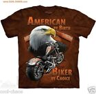 American by Birth, Biker By Choice Motorcycle Eagle T-shirt - Dyed Cool Art Tee