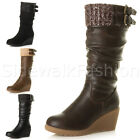 Womens ladies mid wedge buckle knitted cuff zip ruched biker calf boots size