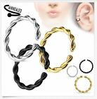 20g 18g 16g 14g Braided Twist Bendable Seamless Anneal Hoop Ring Nose Lip Septum image