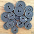 5 x grey coat / jacket  buttons 4 holes  15mm 18mm 23mm  28mm ........