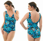 Swimming Floral Costume Swim Suit Padded Cup High Leg Aqua Turquoise Blue Black
