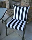 Black and White Stripe Cushion ~ Pillow Set for Patio Dining Chair ~ Choose Size