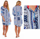 Ladies Nightshirt Viscose Elastane Mosaic Blue White Buttoned Night Shirt Knee