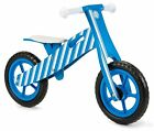 BOYS BLUE STRIPE BALANCE BIKE,TOP QUALITY WOODEN KIDS CHILDREN'S LEARNING CYCLE