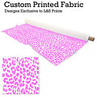 PINK & WHITE LEOPARD PRINT DESIGN FABRIC LYCRA SPANDEX POLYESTER ALOBA CHIFFON