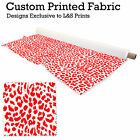 RED & WHITE LEOPARD PRINT DESIGN FABRIC LYCRA SPANDEX POLYESTER ALOBA CHIFFON