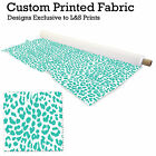 TEAL & WHITE LEOPARD PRINT DESIGN FABRIC LYCRA SPANDEX POLYESTER ALOBA CHIFFON