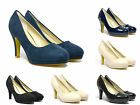 Womens Stiletto Mid Heels Pumps Court Suede Leather Shoes Sizes