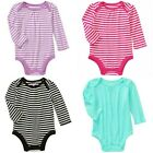 Baby Girls Pointelle Long Sleeve Bodysuit Striped, Solids 0-3 3-6 6-9 12 Month