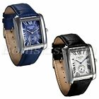 Men's Casual Retro Roman Numberals Square Dial Leather Date Quartz Wrist Watch image