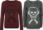 New Womens Knitted Skull Cross Bones Jumper Ladies Long Sleeve Knit Top 8 - 14