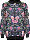 Womens Plus Camouflage Rose Bomber Jacket Ladies Print Zip Long Sleeve 14-28