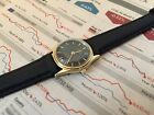 OMEGA LADIES VINTAGE DE VILLE 18K BLACK LEATHER WOMENS WATCH WITH BOX NO RESERVE