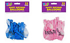 Happy Birthday Durable Latex Balloons - Pink and Blue 20 Pack