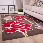 NEW Grey Red Effect Floral Flowers 15mm Thick Living Room 100% Wool Woollen Rug