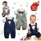 Baby Boy Wedding Christening Formal Tuxedo Suit Romper Outfit Clothes Size00 0 1