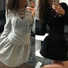 Casual Women Lace Up V-Neck Long Sleeve Low Waist Pleated Solid Slim Short Dress