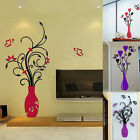 Removable Acrylic 3D Flower Vase Wall Sticker Art Mural Decal Home DIY Decor HOT