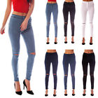 NEW WOMENS HIGH WAISTED RIPPED KNEE SKINNY JEANS LADIES JEGGINGS 6 - 18
