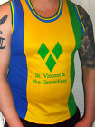 mens green yellow blue st.vincent  caribbean Flag soca carnival mesh vest top