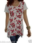 Plus size 16-34 UK  Ladies womans long summer red rose hanky hem top