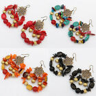 1 Pair New Hot Women's Gold Plated Acrylic Hook Dangle Pendant Jewelry Earrings