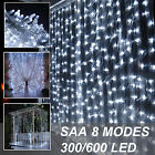 300%2F600+Led+Curtain+Fairy+Lights+Bright+white+Outdoor+Wedding+Christmas+Party+DE