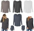 LADIES ECO LONG SLEEVE, RELAXED FIT, WIDE NECK, TUNIC TOP, SHIRTTAIL HEM, LIGHT