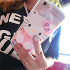 Cute Hello Kitty Mirror Plush Ball Strap Clear Case Cover For Iphone 6 6s 7 Plus