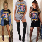Sexy Women Short Sleeve Bodycon Mini Dress T-Shirt Ladies Rock Style Tops Blouse