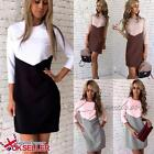 Womens Bodycon Long Sleeve Ladies Cocktail Party Evening Mini Patchwork Dress