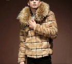Fashion Men's faux fox fur warm jacket fur coat trench outwear padded fur pakras
