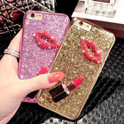 3D Luxury Bling Glitter Diamond Kiss Lipstick Soft Case Cover for iPhone/Samsung