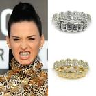 14K Gold Teeth Grillz Top Bottom Useful CZ Hip Hop Tooth Cap Grill Set Jewelry