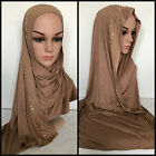 ` COTTON JERSEY Scarf Hijab Wrap Shawl Muslim Head cover Unstitched 170 x 50 cm