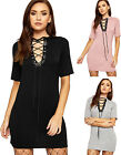 Womens V Neck Lace Tie Dress Top Ladies Eyelet Plunge Short Sleeve Knee Length