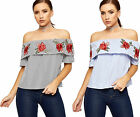 Womens Crop Bardot Layered Top Ladies Striped Floral Rose Print Short Sleeve