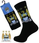 4 Boys MANCHESTER CITY Crest Badge FOOTBALL CLUB Soccer Team Socks UK 4-6