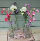 Mothers Day Artificial Sweet Pea Clear Water Glass Vase Flower Arrangement