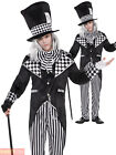 Dark Mad Hatter Halloween Costume Mens Ladies Alice Wonderland  Fancy Dress