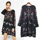 BOHO GYPSY WOMENS FLORAL EMBROIDERED MINI DRESS TUNIC BLOUSE TOP Long Sleeve