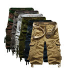 2017 Mens Summer Casual Cargo Pants Shorts Trousers Solid Plain Camo Combat Army