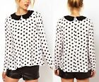 Sweet Cute Women Girl Dot Doll Collar Long Sleeved Chiffon Shirt Top ^