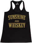 Sunshine and Whiskey Gold Racerback Tank Top Country Girl Southern Tee