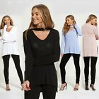 New with Tag V NECK CHOKER DETAIL LONG SLEEVE JUMPER Top