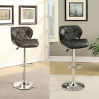 2 Brown Black Smooth Leather-like Diamond Accent Stitching Adjustable Bar Stools